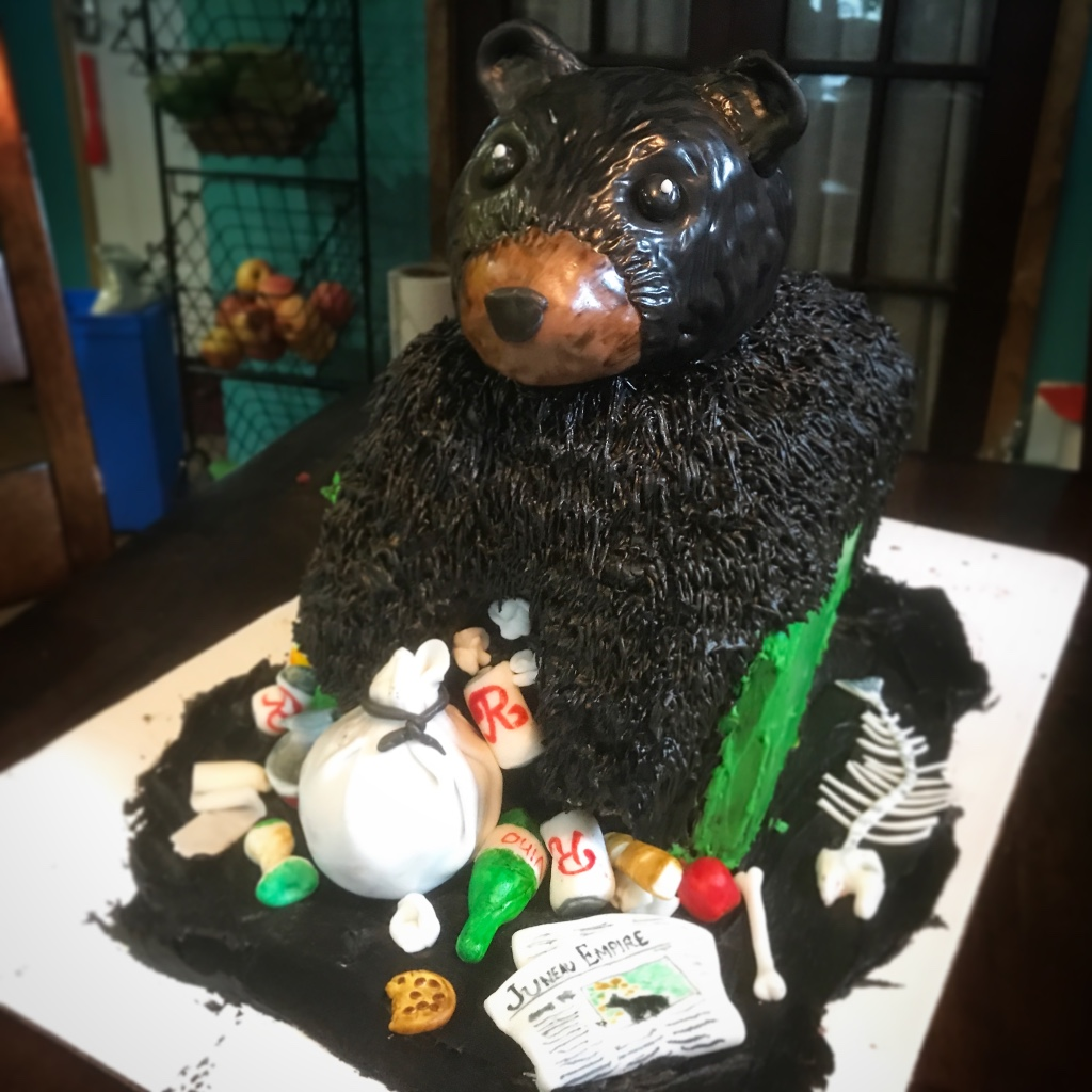 Sculpted trash bear cake