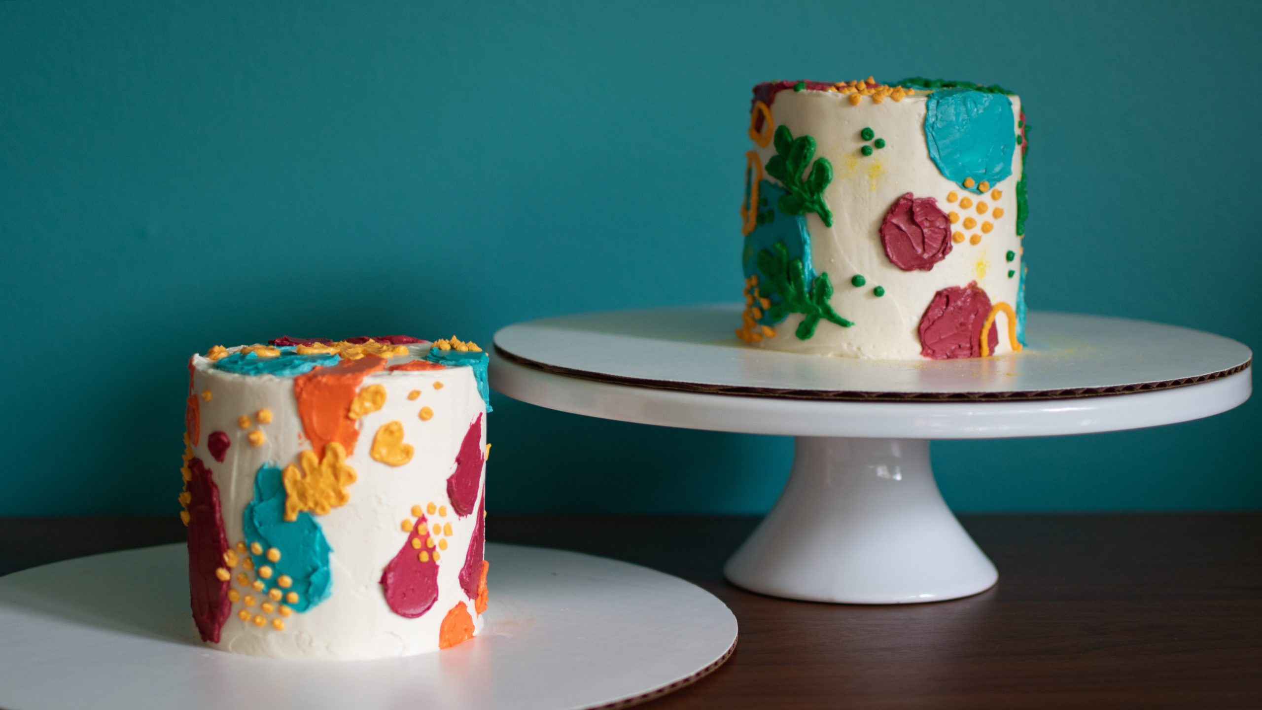 Abstract buttercream painted cakes
